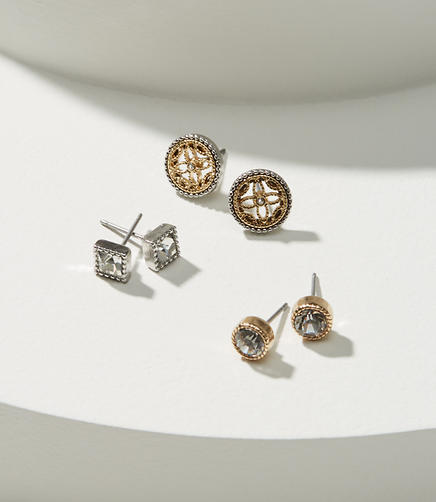 Crystal Filigree Stud Earring Set