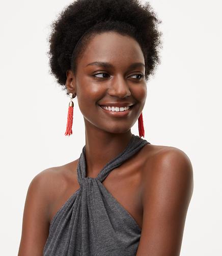 Image of Seed Bead Tassel Earrings