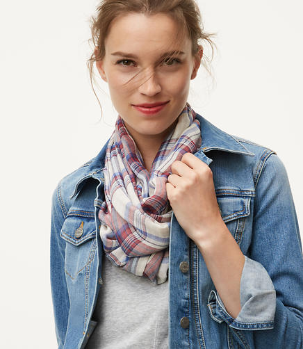Image of Double Plaid Infinity Scarf