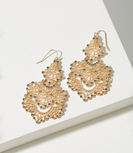 Crystal Filigree Chandelier Earrings