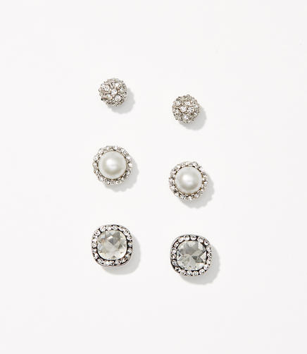 Pearlized Crystal Stud Earring Set