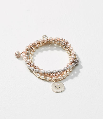Initial Stretch Bracelet Set