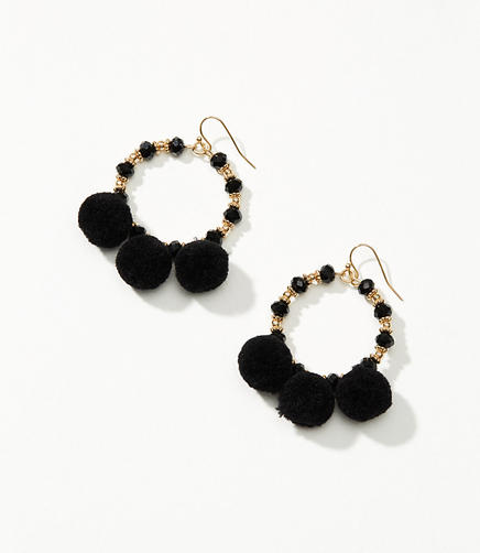 Beaded Pom Pom Drop Earrings