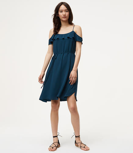 Image of Cold Shoulder Flounce Dress