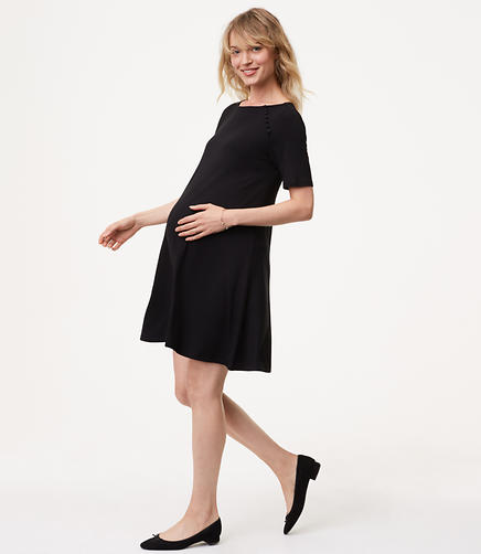 Petite Maternity Covered Button Swing Dress