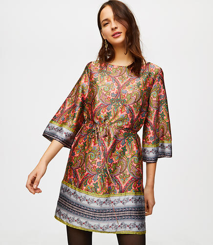 Border Paisley Satin Dress