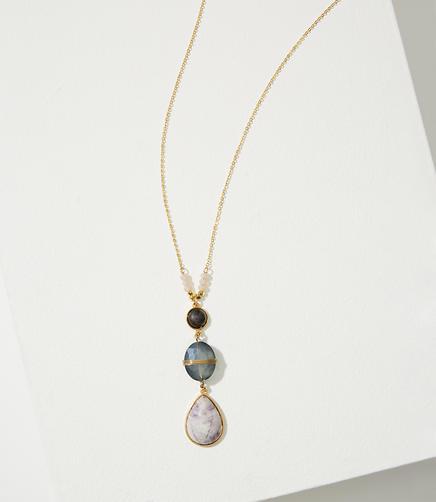 Image of Stacked Marbleized Stone Pendant Necklace
