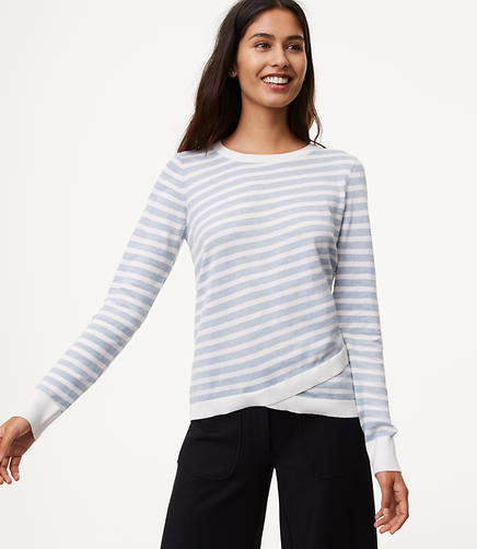Petite Striped Crossover Hem Sweater