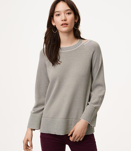 Image of Petite Striped Cutout Sweater