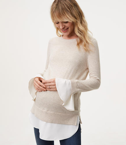 Maternity Ruffle Cuff Two In One Sweater