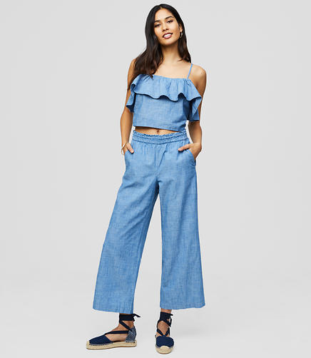 LOFT Beach Chambray Cropped Pants