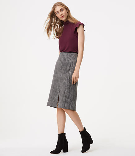 Tweed Front Slit Midi Skirt