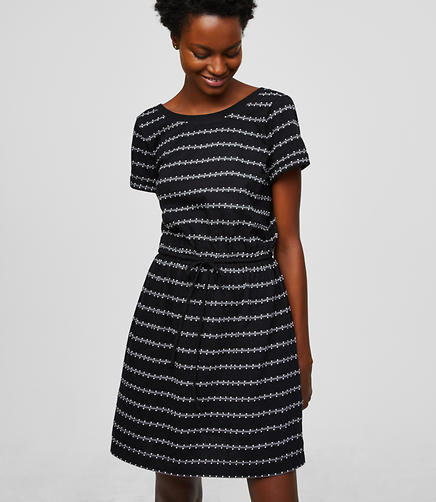 LOFT Beach Dot Stripe Drawstring Dress