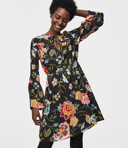 Poppy Bloom Tie Neck Bell Sleeve Dress