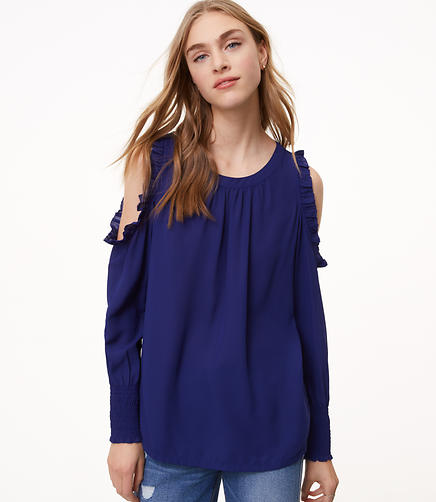 Ruffle Smocked Cold Shoulder Top