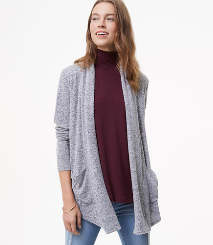 Image of Petite Shawl Collar Open Cardigan