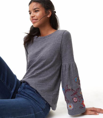 Floral Embroidered Bell Sleeve Sweatshirt