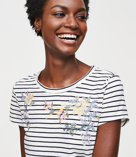 Floral Embroidered Stripe Vintage Soft Tee
