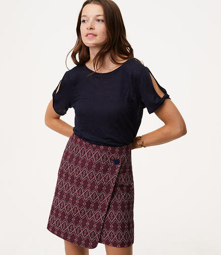 Diamond Button Wrap Skirt