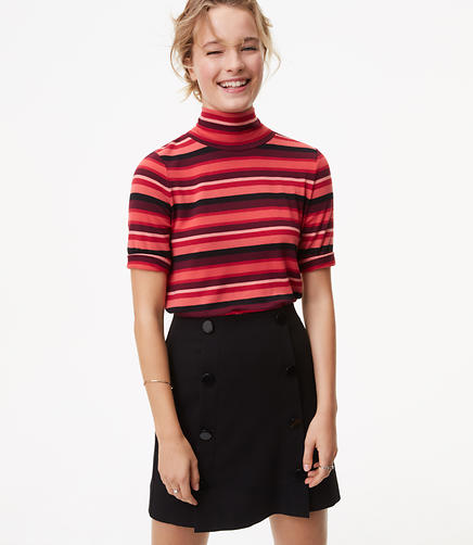 Striped Turtleneck Swing Tee
