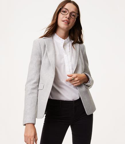 Image of Petite Herringbone Knit Blazer
