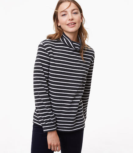 Striped Blouson Cowlneck Top