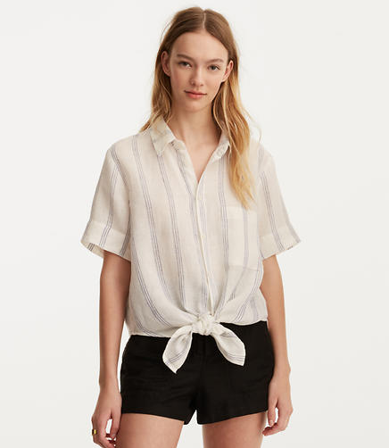 Image of CP Shades Striped Georgia Short Sleeve Tie Blouse