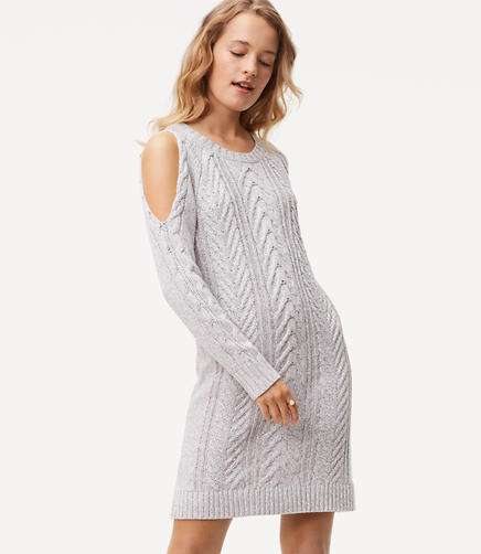 Cable Cold Shoulder Sweater Dress