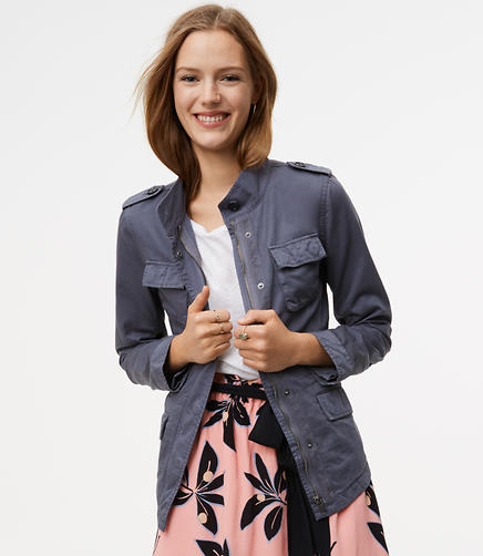 Image of Petite Sateen Utility Jacket