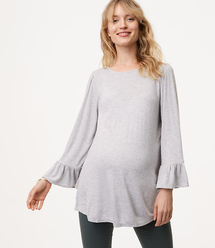 Maternity Shimmer Ruffle Bell Sleeve Tee