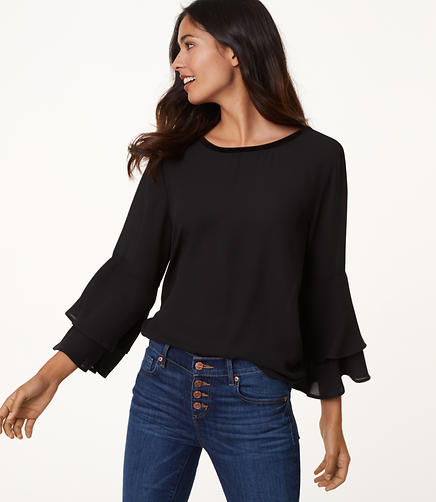 Velvet Trim Bell Sleeve Top