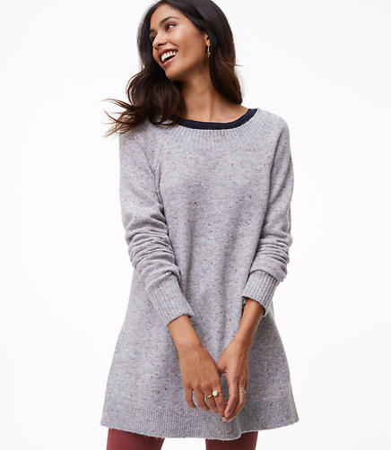 Flecked Boatneck Tunic Sweater