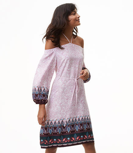 Vine Paisley Off The Shoulder Halter Dress