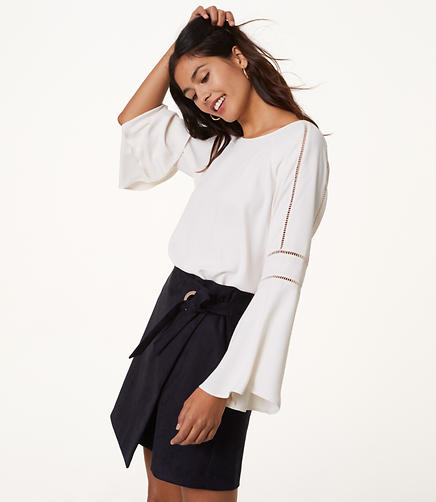 Cutout Bell Sleeve Blouse