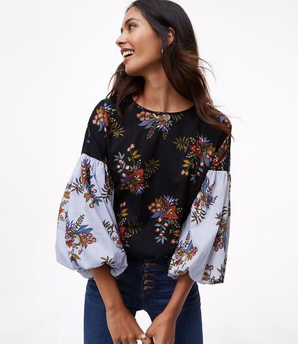 Petite Flowermix Lantern Sleeve Shirt