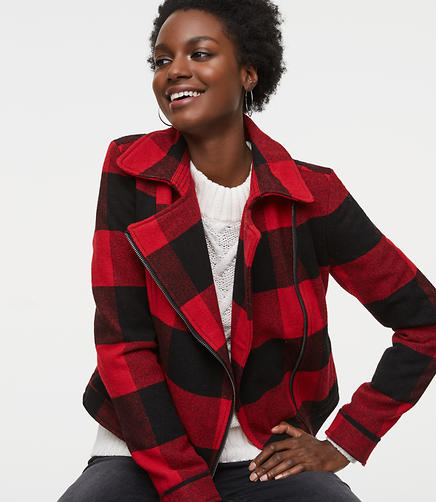 Buffalo Plaid Motorcycle Jacket