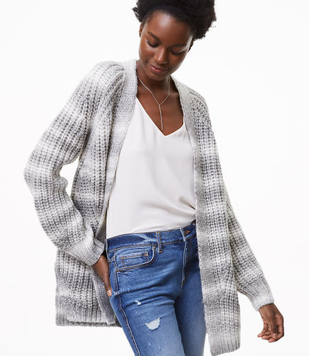 Ombre Striped Open Cardigan