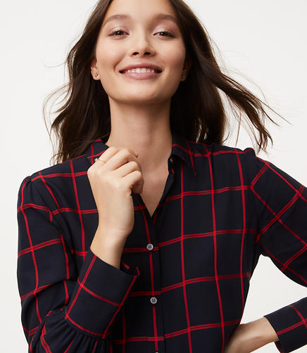 Image of Petite Windowpane Puff Sleeve Shirt