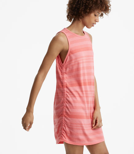 Lou & Grey Stripe Ruched Softserve Cotton Tank Dress