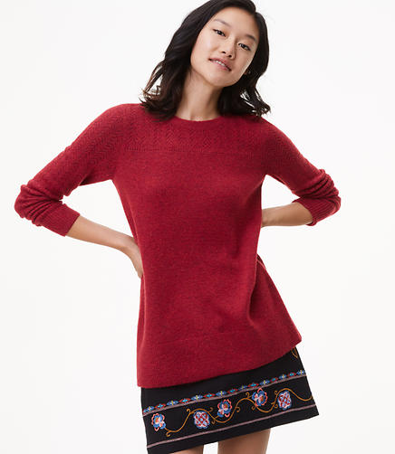 Petite Relaxed Pointelle Sweater