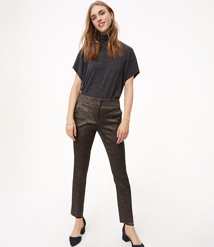 Slim Metallic Leopard Jacquard Pants in Marisa Fit