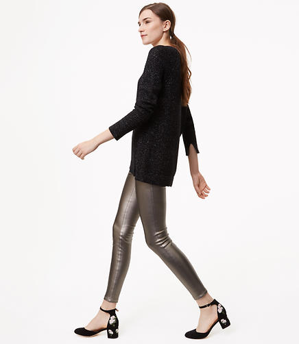 Leggings in Metallic Faux Leather Paneled Bi-Stretch