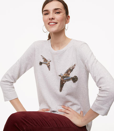 Petite Beaded Bird Sweatshirt