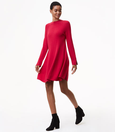 Mock Neck Swing Sweater Dress