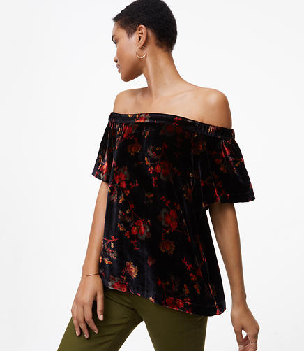 Petite Fall Floral Velvet Off The Shoulder Top