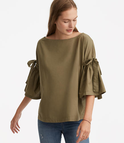 Image of Lou & Grey Tie Bell Sleeve Top