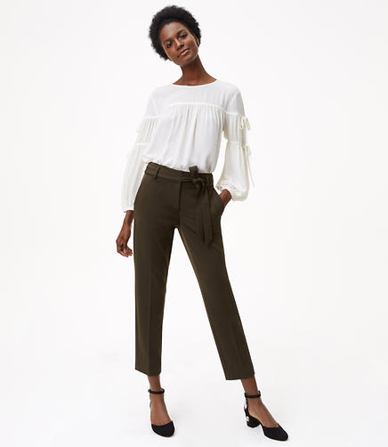 Petite Slim Tie Waist Custom Stretch Pants in Marisa Fit