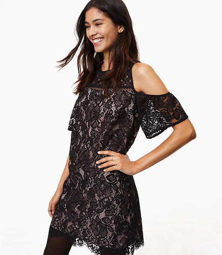 Petite Boudoir Lace Cold Shoulder Dress