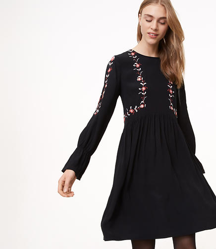 Floral Embroidered Split Sleeve Dress