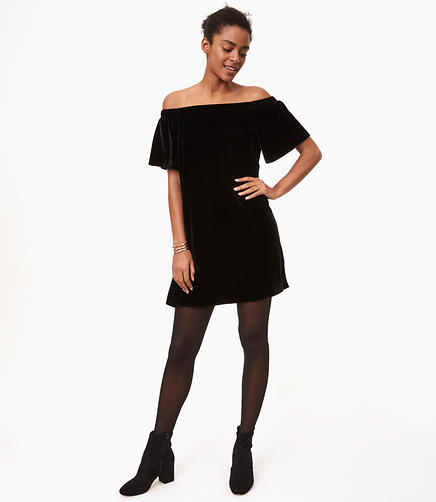 Petite Velvet Off The Shoulder Swing Dress